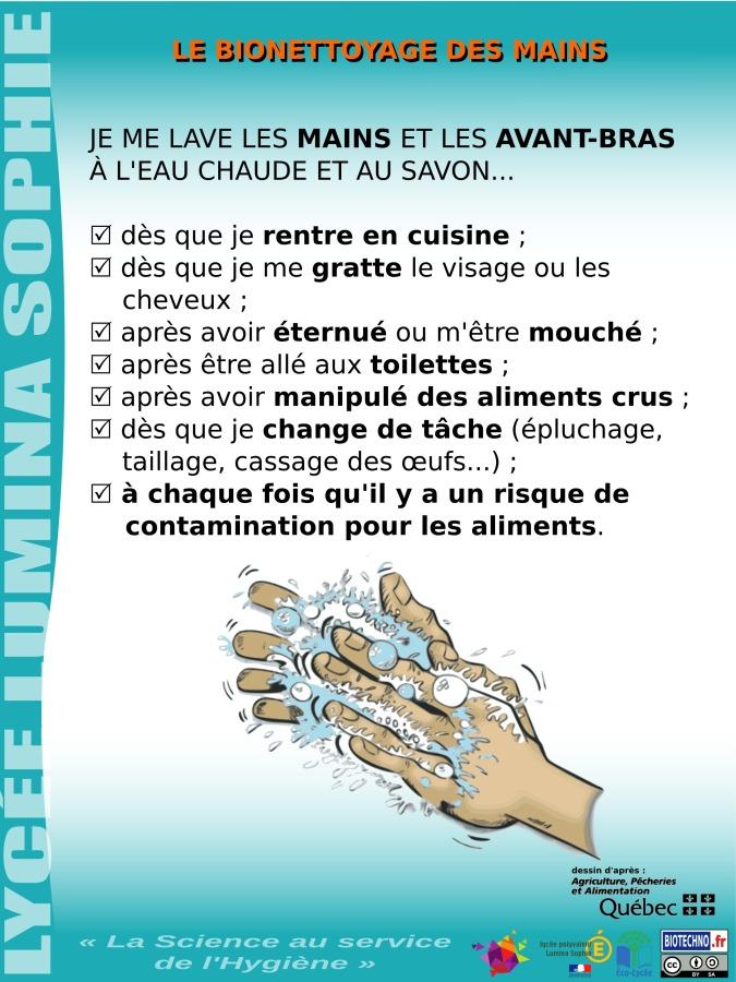 La science au service de l 39 hygi ne alimentaire - Protocole de lavage des mains en cuisine ...
